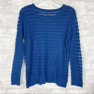Timing Blue Open Knit Sweater